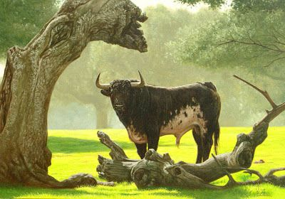 Viejos Troncos óleo Sobre Lienzo Walter Zuluaga Pintor Colombiano Toro Bravo En Campo Arte Realista Toro Lidia Al óleo Toros De Lidia Toros Animales