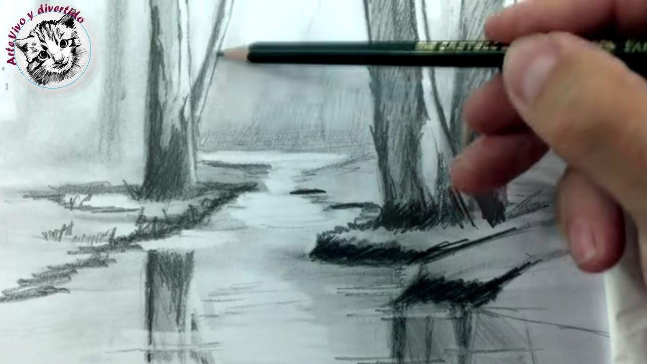 Como Dibujar Un Rio A Lapiz Paso A Paso Tecnica De Dibujo A Lapiz Dibujos Tristes A Lapiz Paisaje A Lapiz Como Dibujar A Lapiz