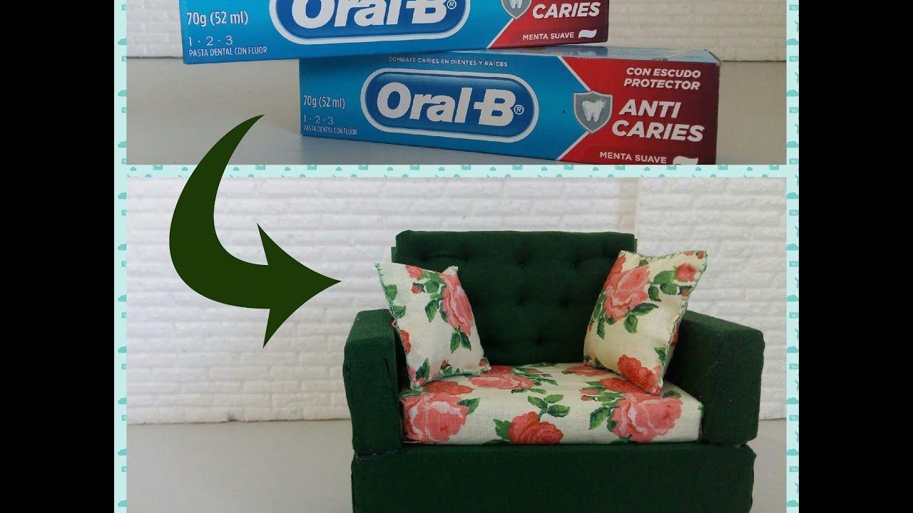 Como fazer com caixa de pasta de dente um sofa para barbie e outras