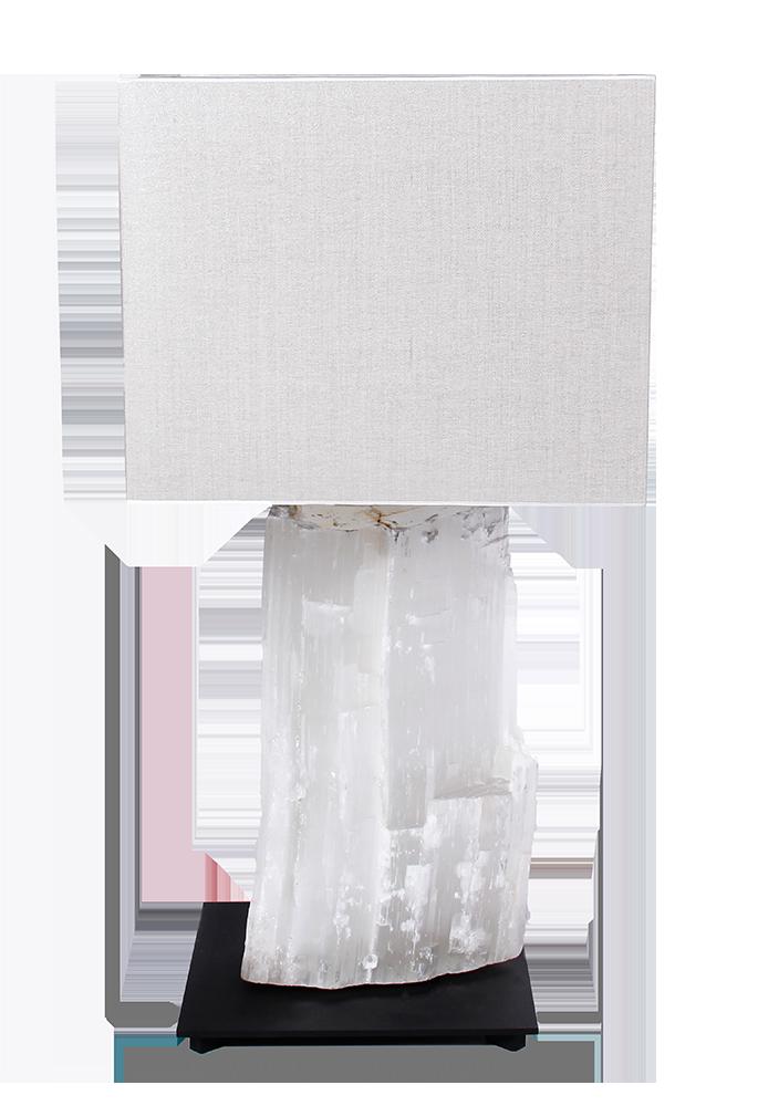 Table lamp, SELENITE LAMP WHITE, selenite massive white, black powder  coated frame,