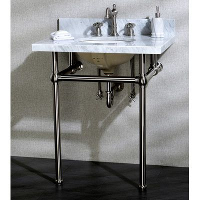 Kingston Brass Templeton 30 Fauceture Console Sink With Overflow Mount Finish Satin Nickel Console Sink Sink Bathroom Sink