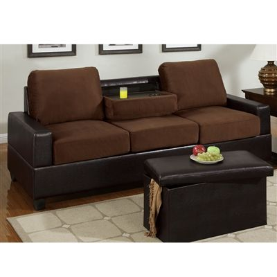 two tone microfiber 3 seater sofa with center console chocolate finish living room furniture. Black Bedroom Furniture Sets. Home Design Ideas