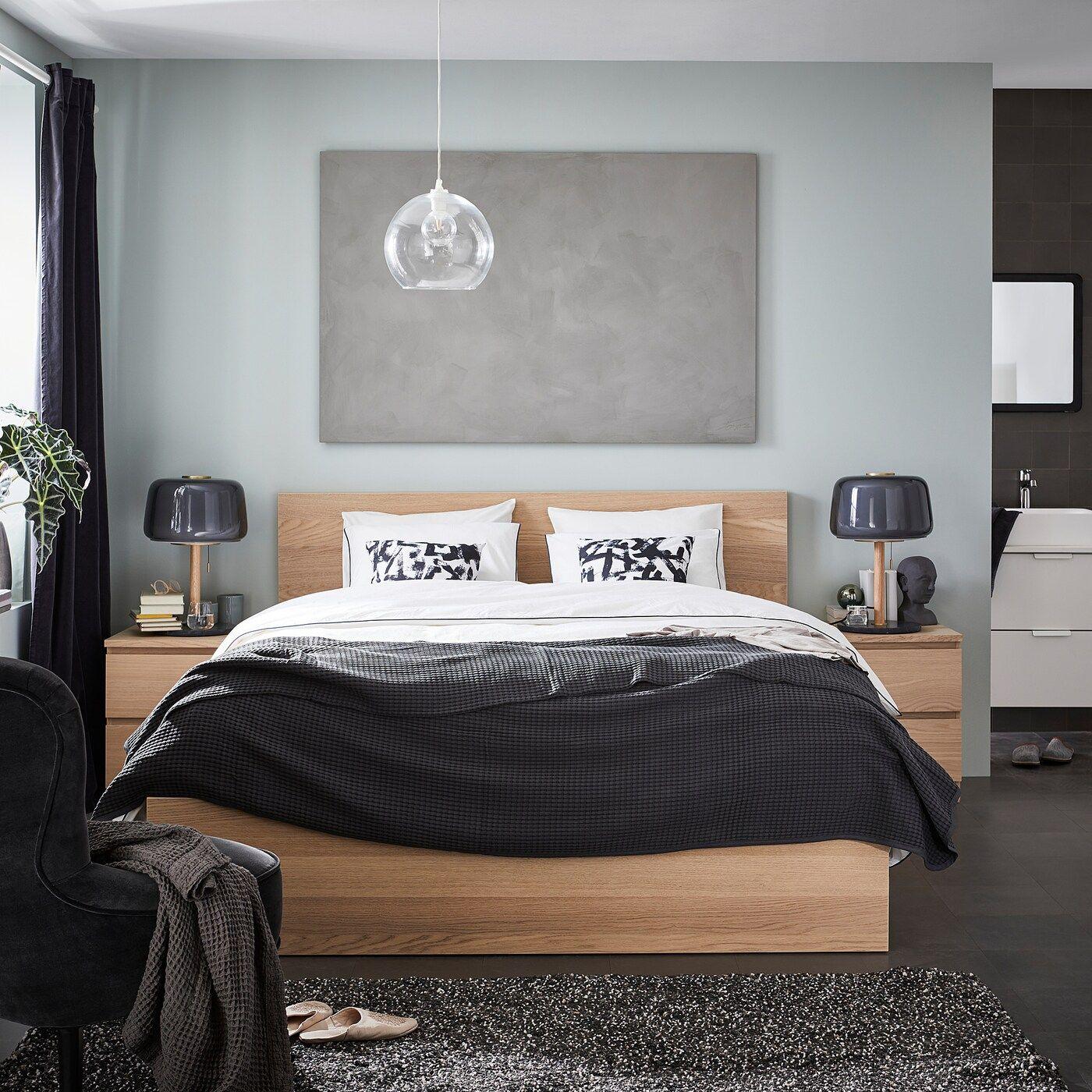 Best Ikea Malm White Stained Oak Veneer Luröy Bed Frame High 400 x 300