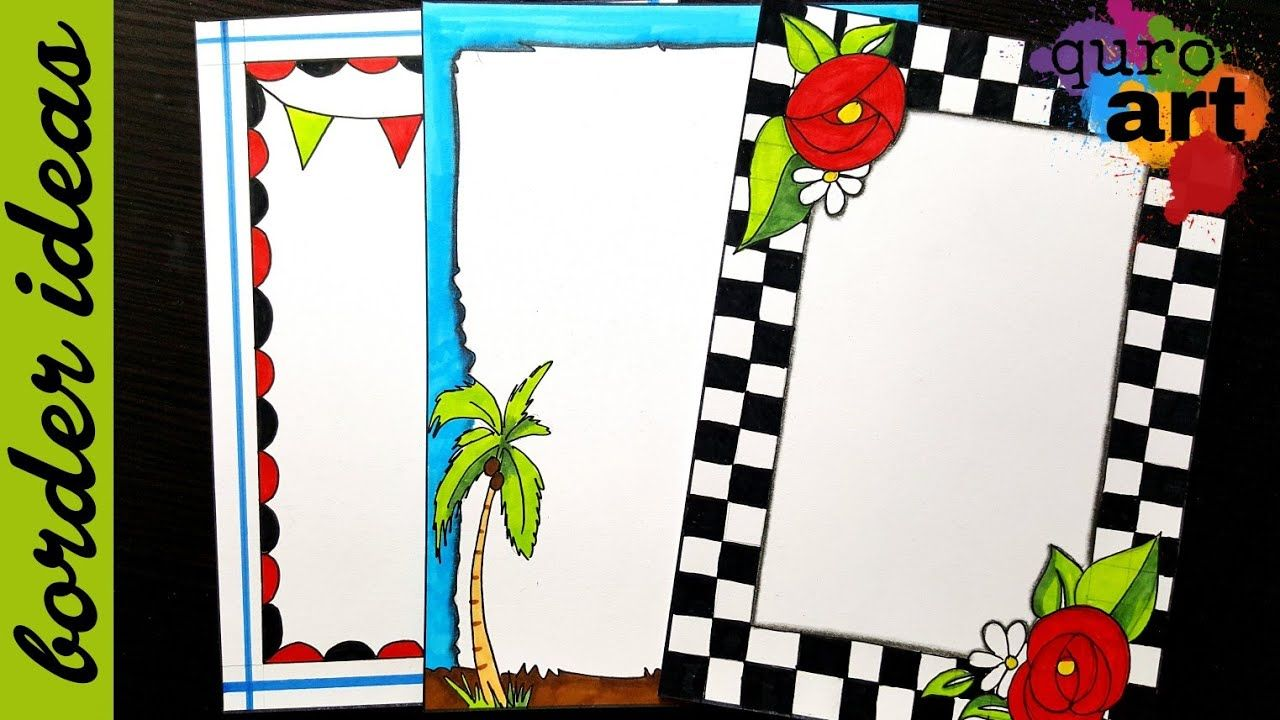 Floral border designs on paper project work borders for projects youtube  design also rh pinterest