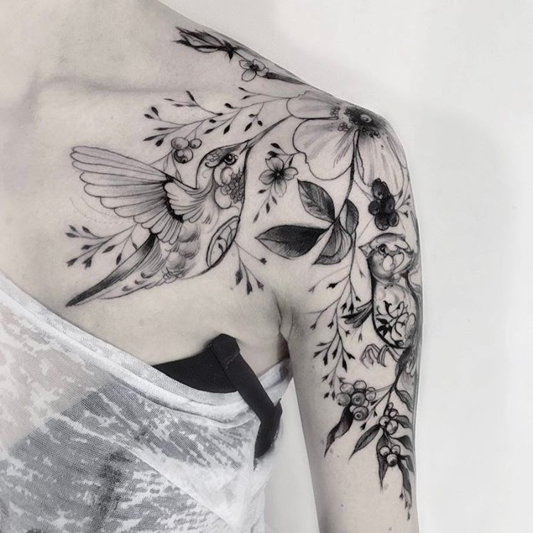 Hummingbird tattoo idea. Liking the flowers