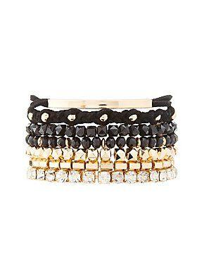 Rhinestone & Studded Mixed Bracelets - 7 Pack