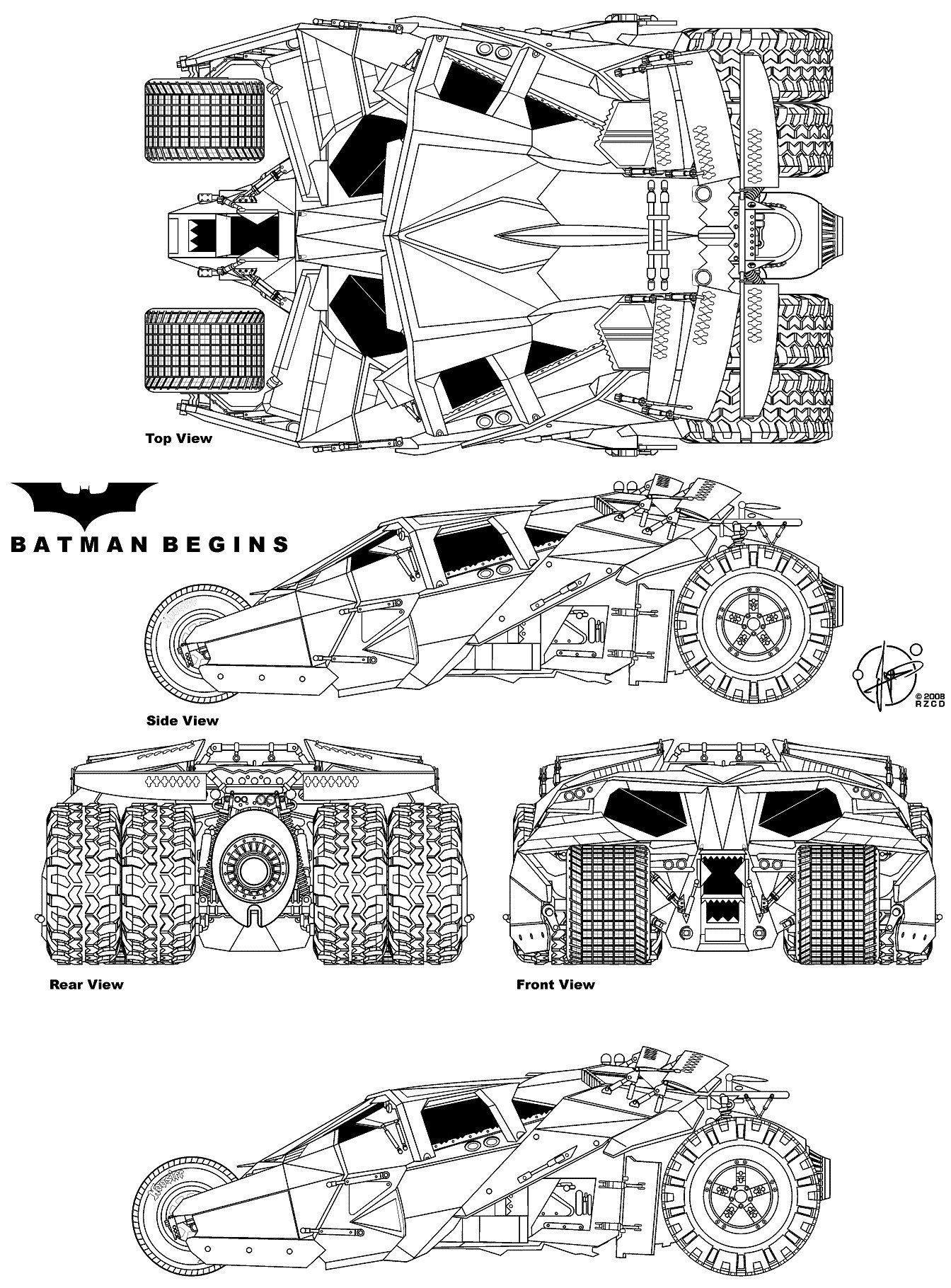 Batmobile blueprint database pinterest planos dibujos batmobile malvernweather Choice Image