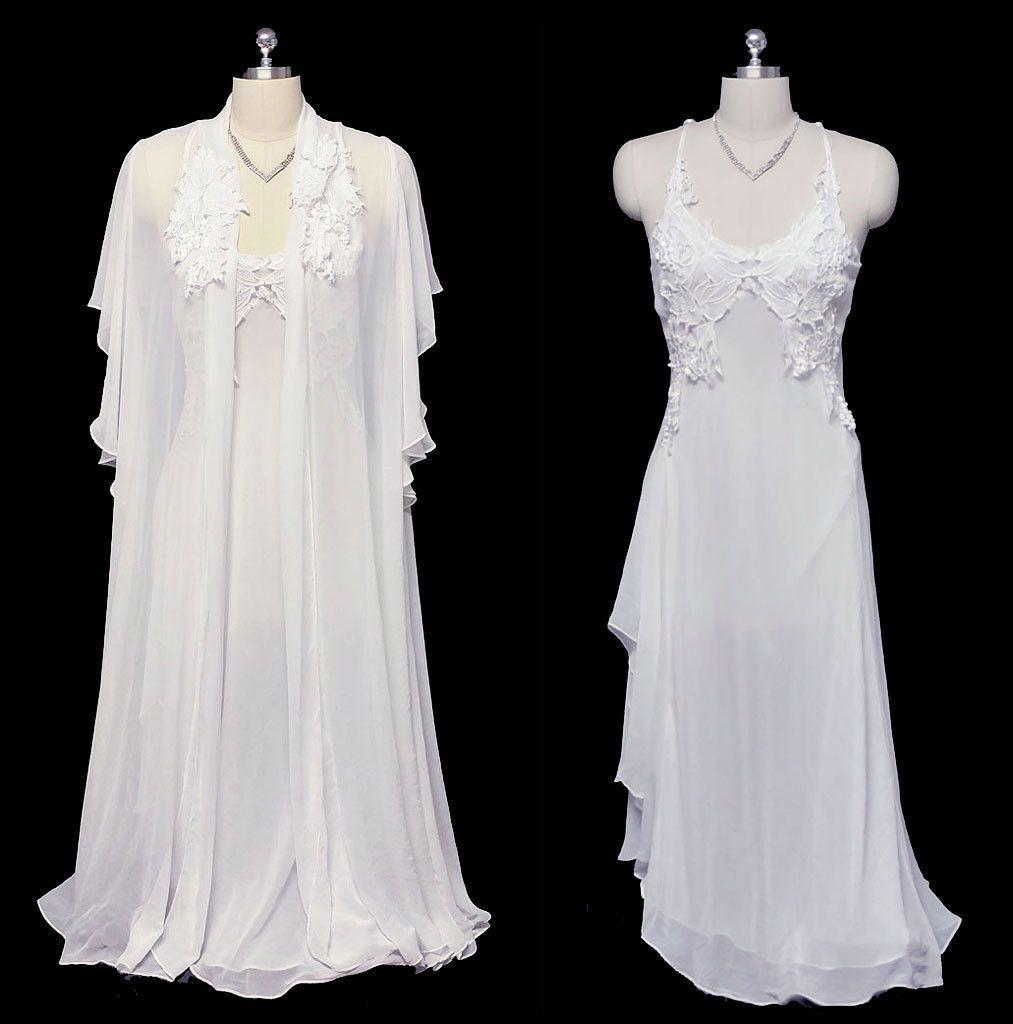 GORGEOUS VINTAGE FLORA NIKROOZ BRIDAL TROUSSEAU WEDDING NIGHT CHIFFON    APPLIQUES PEIGNOIR   NIGHTGOWN SET Vintage 045c7125c