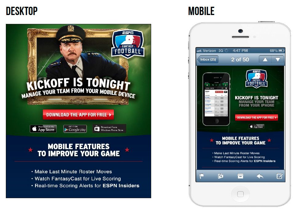 This email from ESPN, promoting the ESPN Fantasy Football
