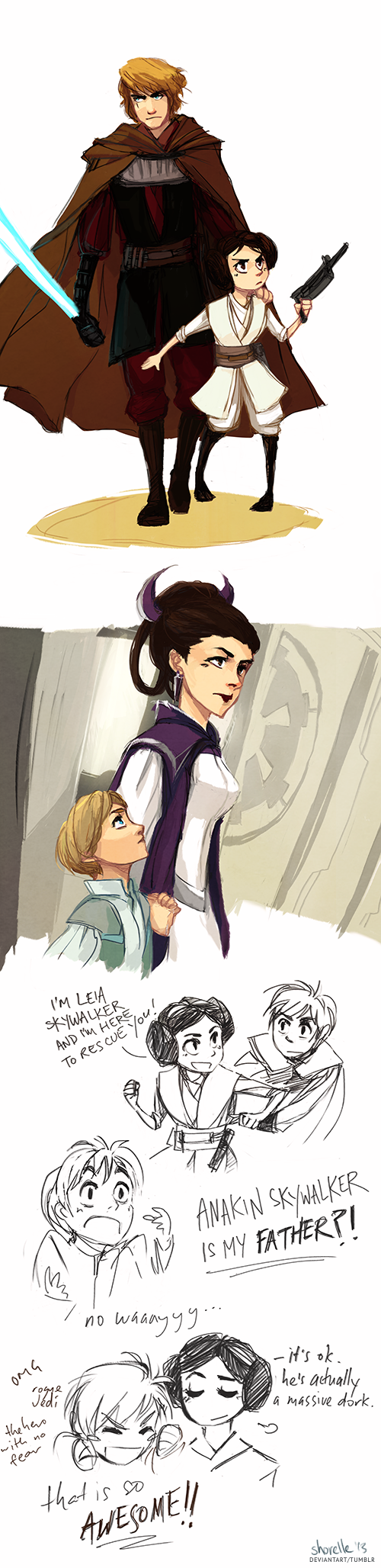star wars rebel AU by shorelle This is an AU where Anakin never turned to the darks side, however the galaxy still became an empire. because of this, Anakin took his daughter, Leia, and left to fight with the rebels. Padme on the other hand raised Luke on Coruscant where she was a senator/spy for the rebels. Somehow Luke and Leia met and found out they were siblings. Luke is very excited about who his father is.