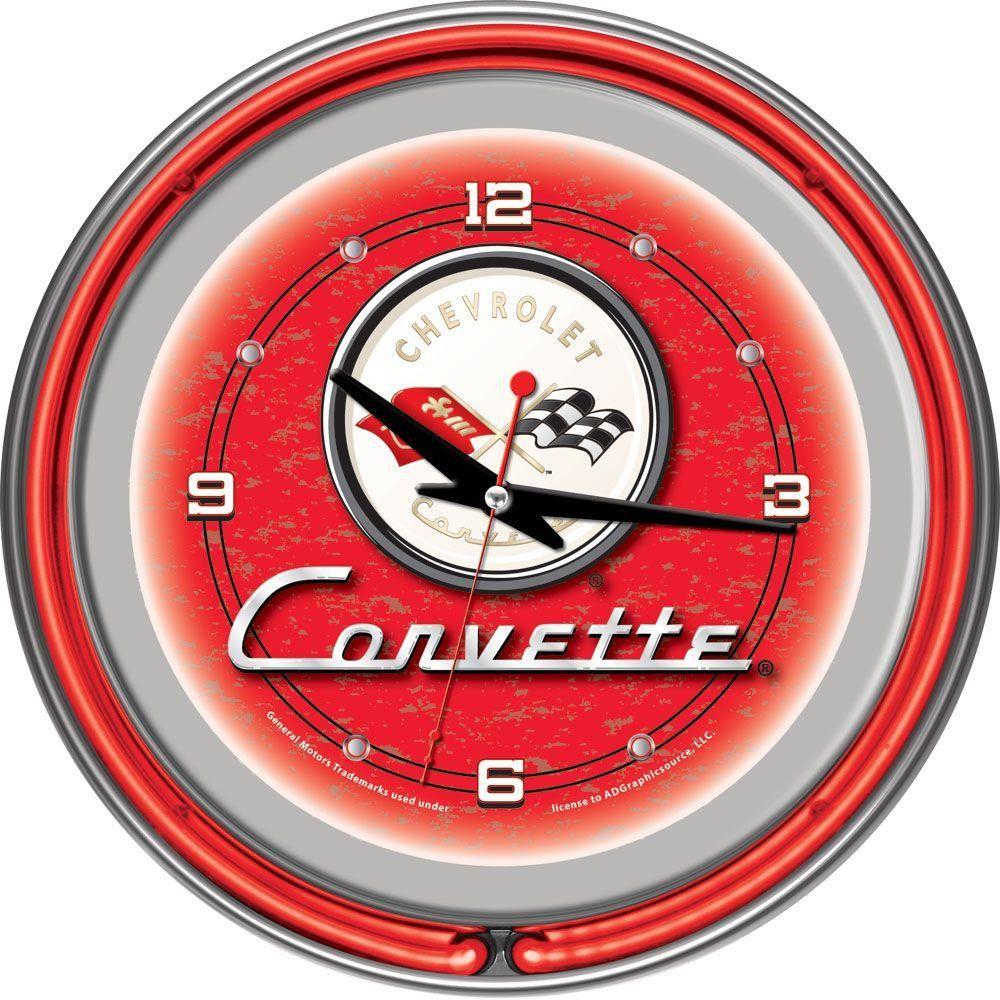 14 In Red Corvette C1 Neon Wall Clock Multi Neon Clock Red Corvette Corvette Clock