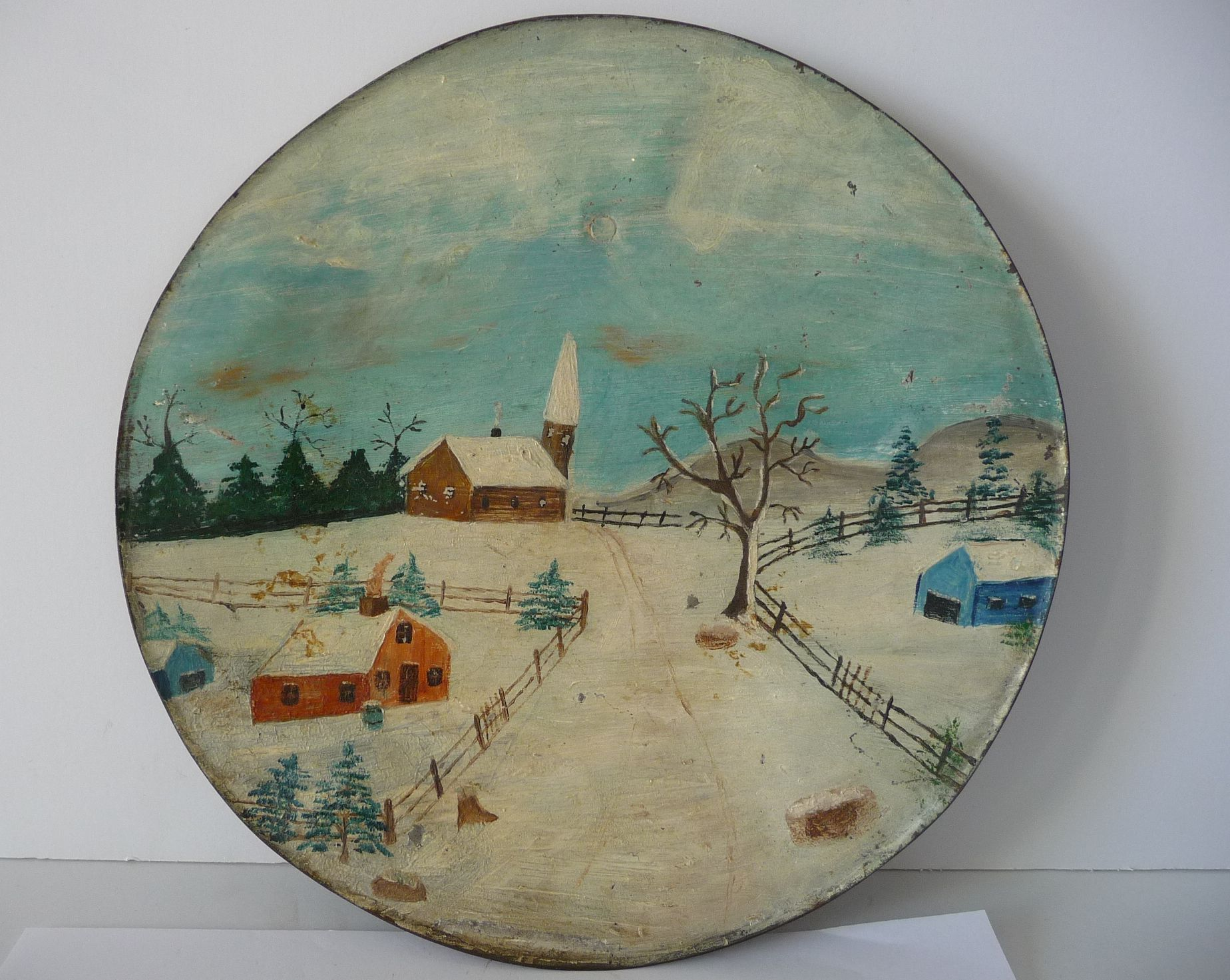 Folk Art 19Th Century Alternative Surface Art Painted Stove Lid