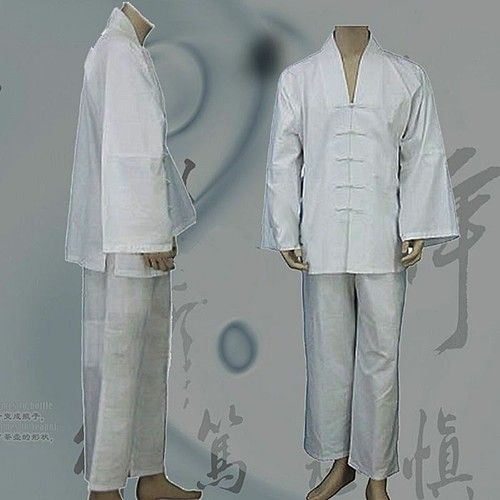 White Hemp and Linen Wudang V-Collar Tai Chi Uniform with open Sleeves for Men and Women