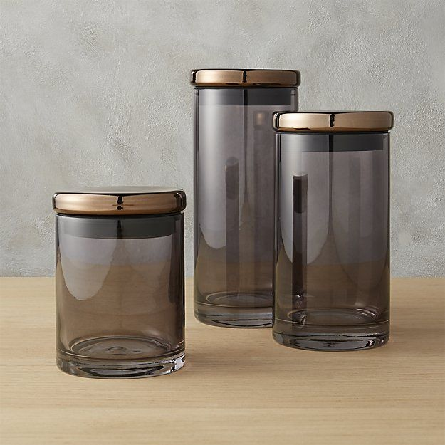 Shop 3-piece coltrane smoke grey canisters Handmade of smooth