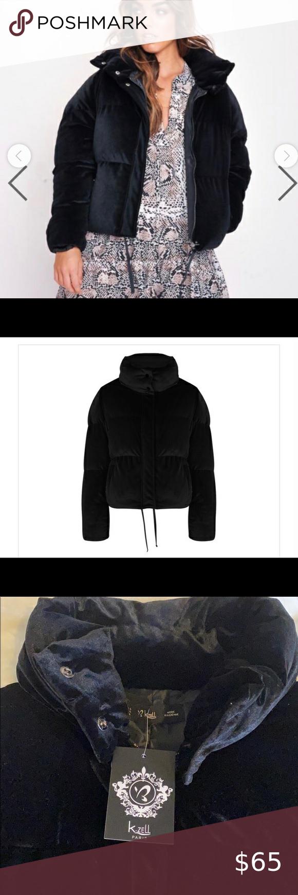 Nwt K Zell Plush Black Velvet Puffer Coat Jacket Jackets Clothes Design Puffer Coat [ 1740 x 580 Pixel ]