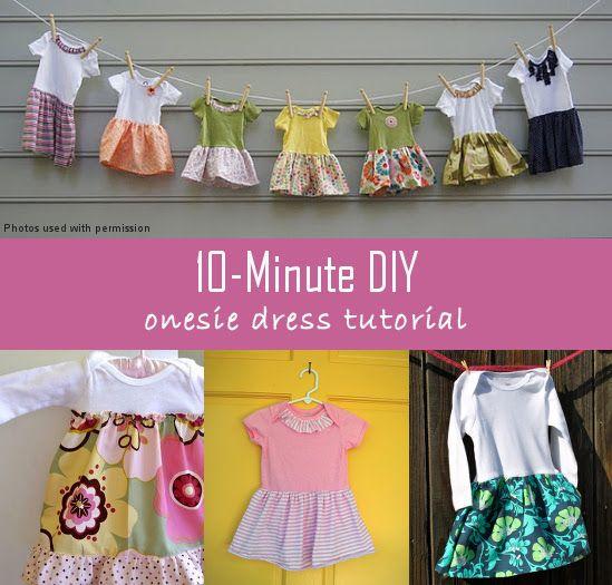 10 minute diy onesie dress tutorial couture pinterest couture enfant couture et tutos couture. Black Bedroom Furniture Sets. Home Design Ideas