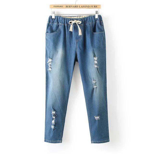 summer new women jeans large size printing elastic waist large size denim pants femme