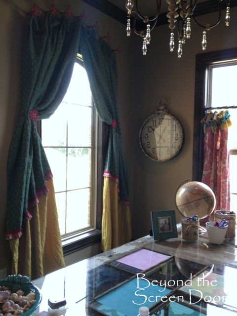 Attrayant Pink U0026 Turquoise Home Office Curtains | Beyond The Screen Door