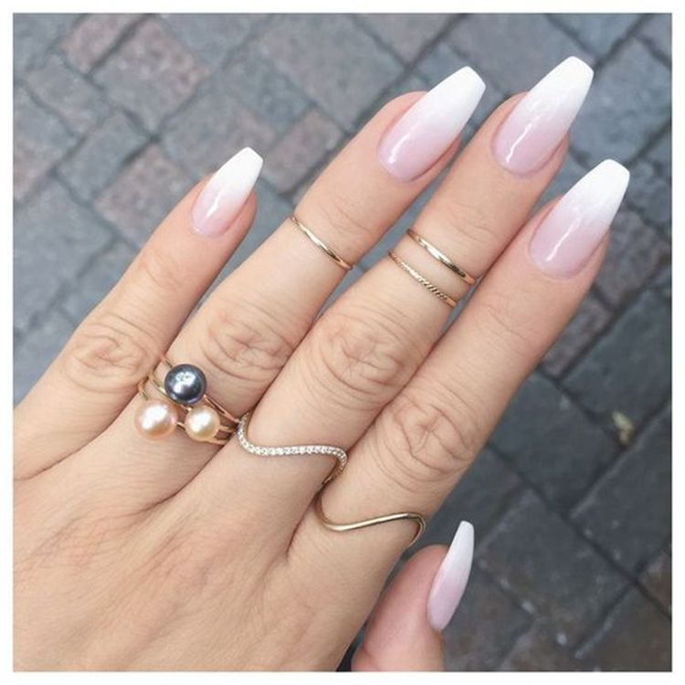 The unique french ombre acrylic coffin nails are amazing #coffinnails