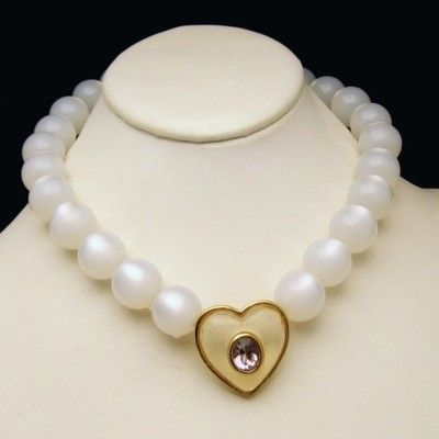 GIVENCHY Vintage Necklace Moonglow Lucite Beads Jelly Belly Heart Purple Glass Stone from www.myclassicjewelryshop.com, $569.00