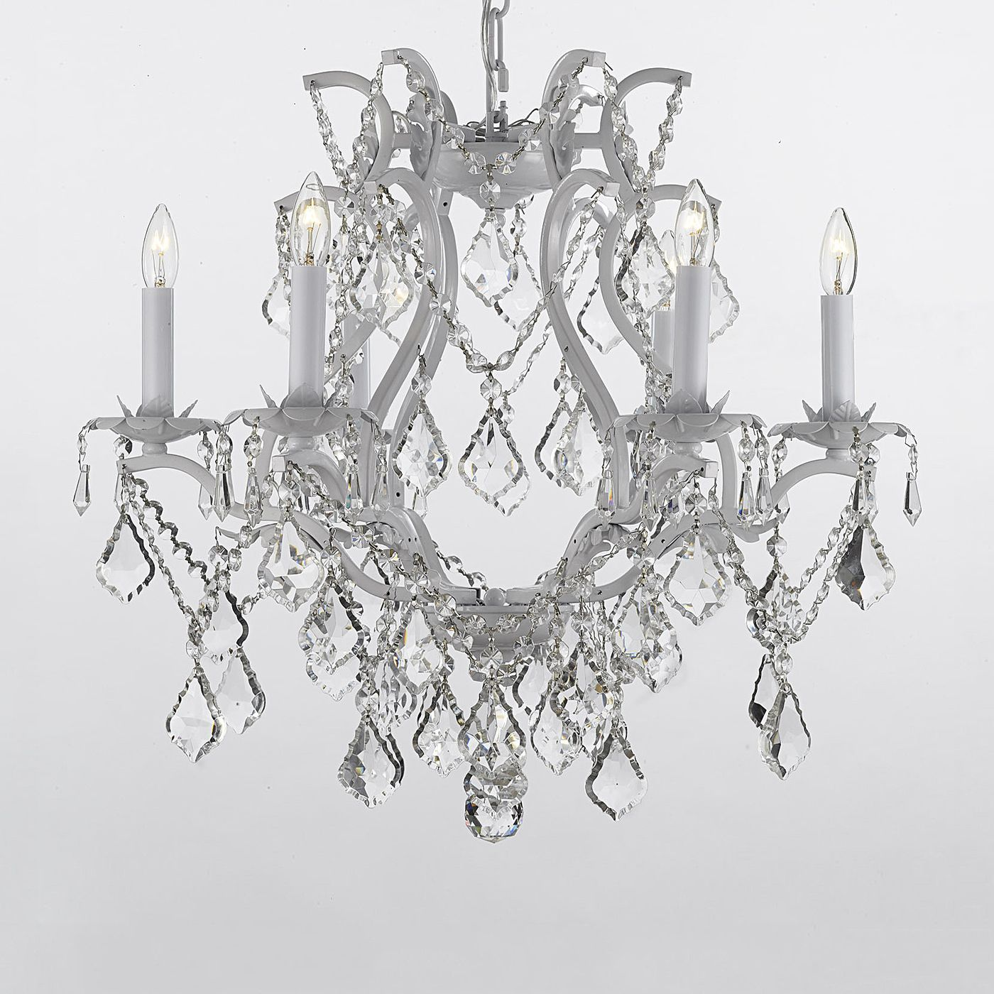 White Wrought Iron Crystal Chandelier By Gallery Lighting
