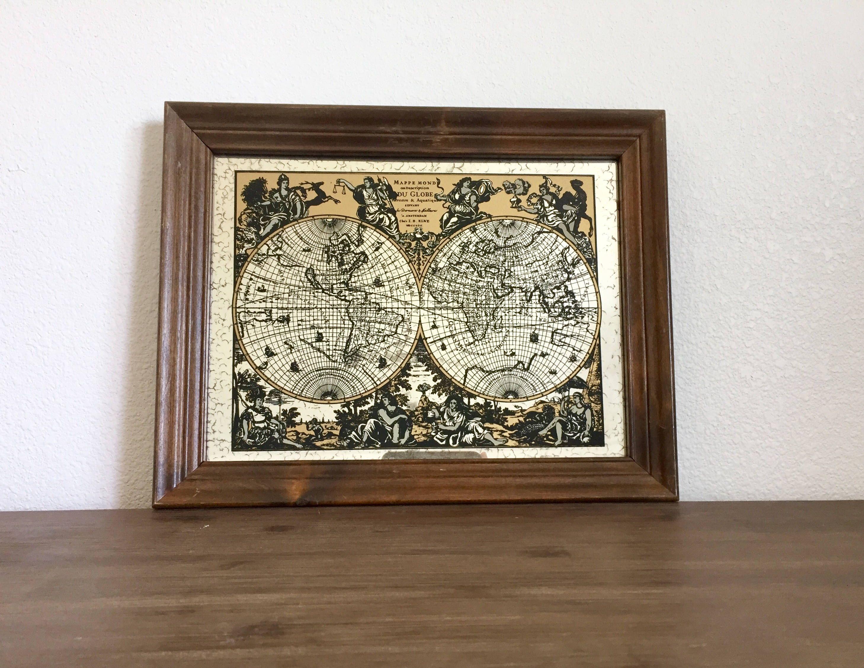 Vintage Map; World Globe; Map Monde World Map Mirror; Wood Framed ...
