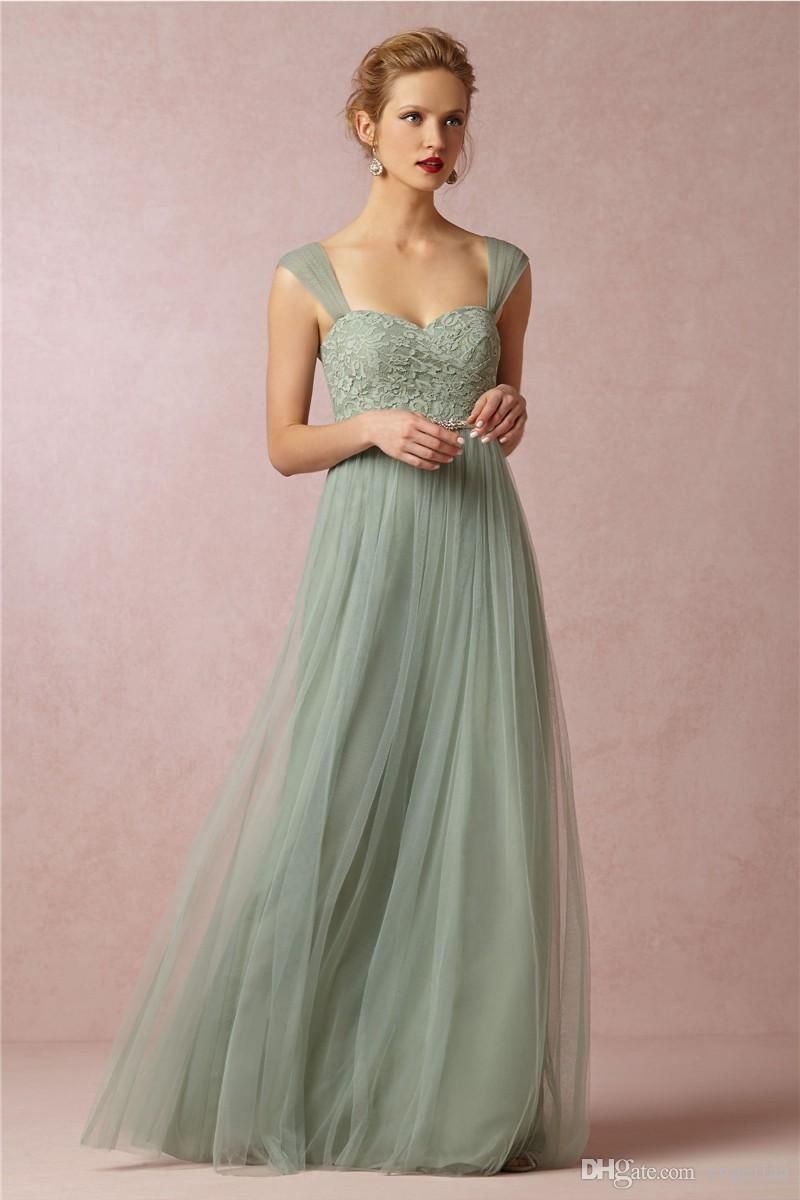 Cheap sage colors sheer straps lace bodice vintage wedding for Elegant wedding party dresses