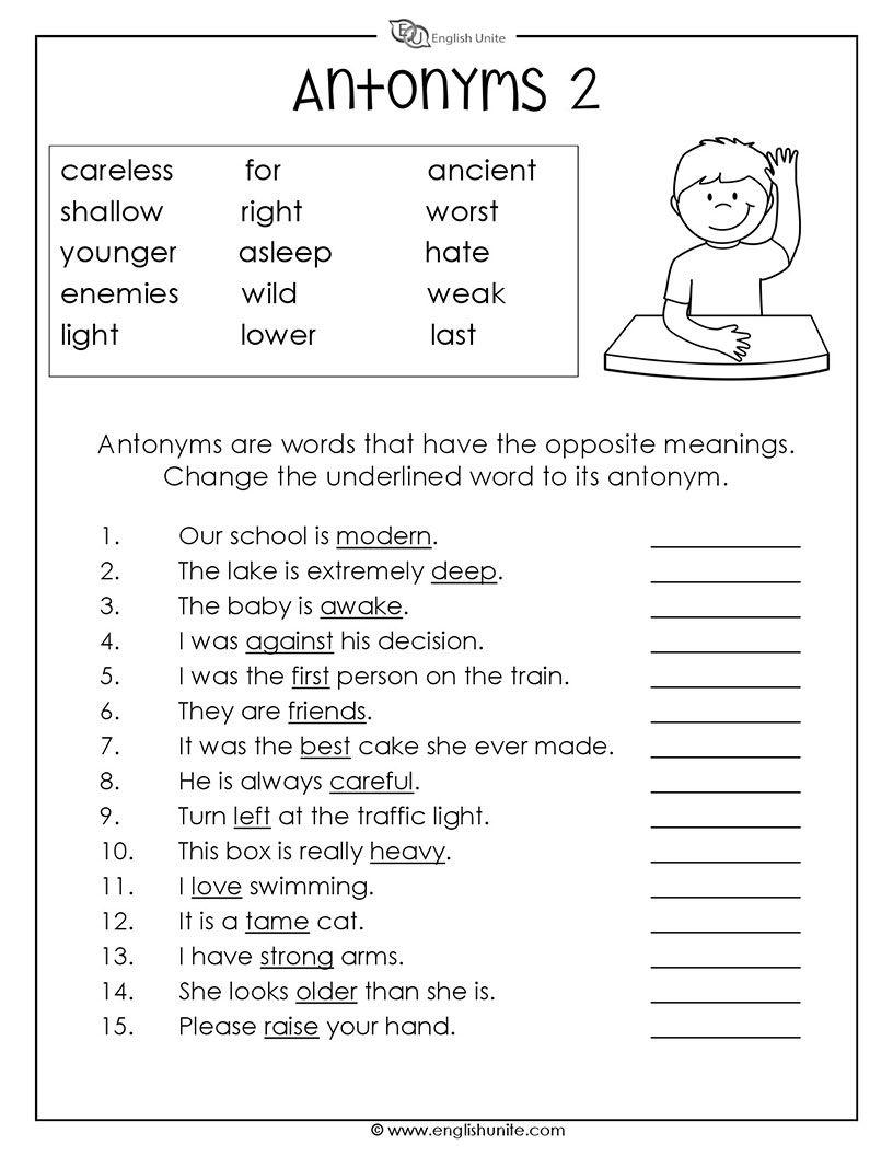 Antonyms Worksheet 2 English worksheets for kids, Parts