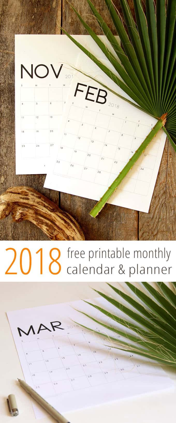 Free PDF Download 2018 Calendar And Monthly Planners In A Gorgeous Modern Minimal Style January Through December