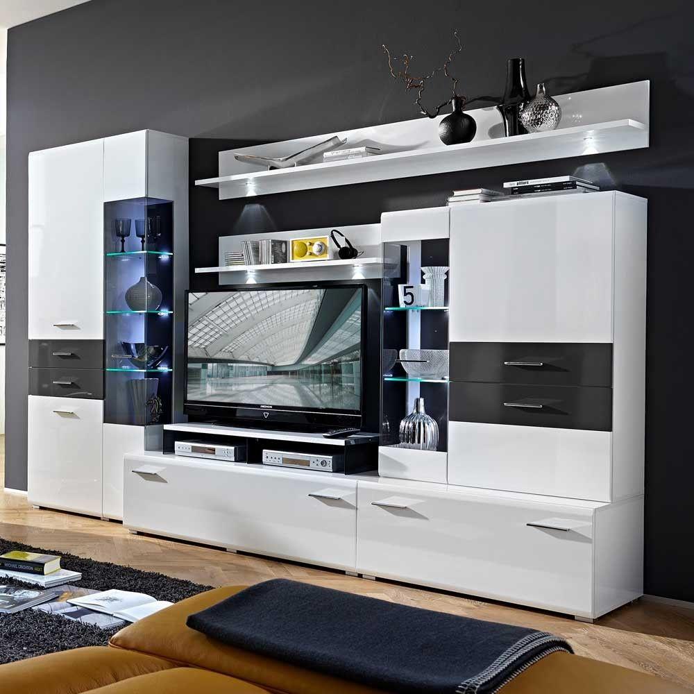 Hochglanz Wohnwand Higuley In Weiss Grau 310 Cm Breit Mit Led Beleuchtung 6 Teilig Wohnzimmerschranke Wohnwand Modern Wohnwand