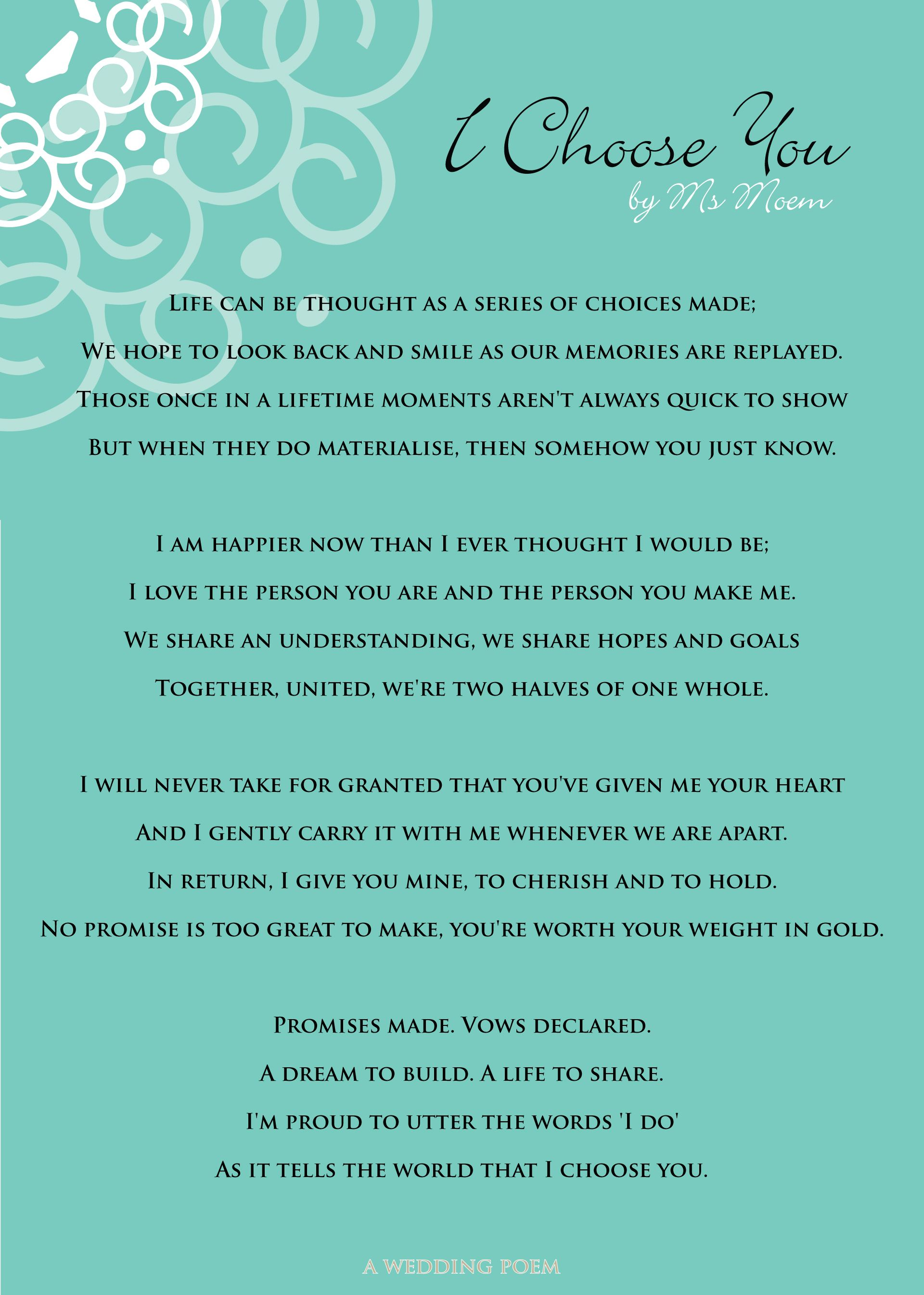 I Choose You - A Wedding Poem | Wedding | Wedding poems ...