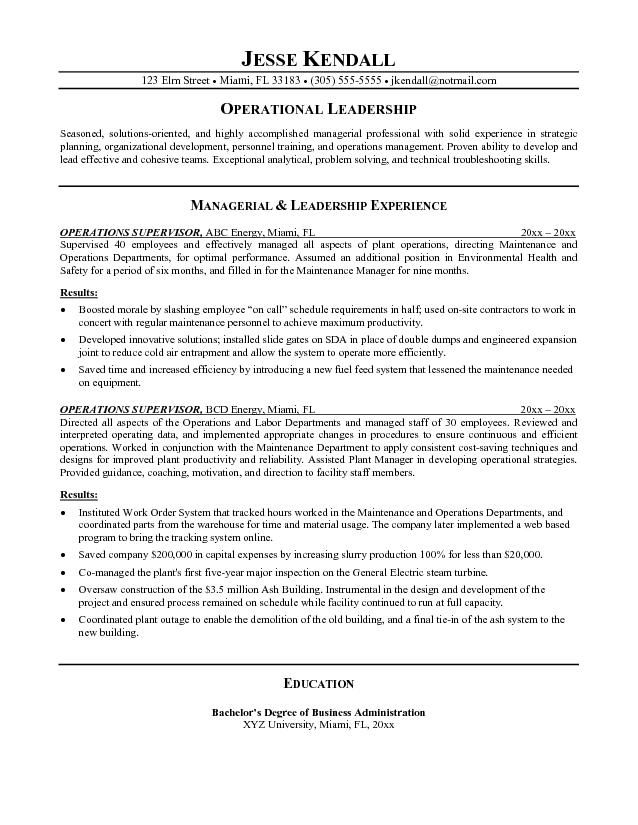 Example Operations Supervisor Resume Free Sample Resume Objective Resume Writing Tips Sample Resume