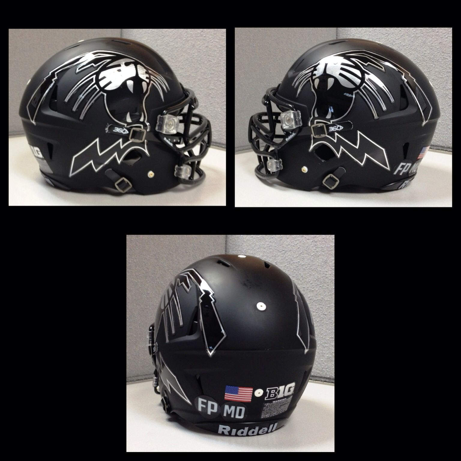 Heres A Close Look At The Northwestern University Wildcats Chrome - Motorcycle half helmet decals