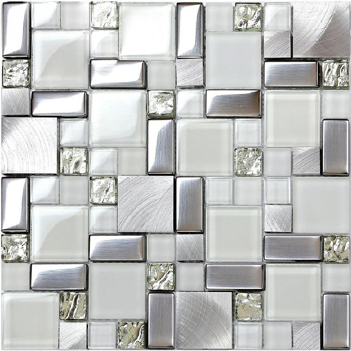- Silver Metal And Glass Mosaic Tile JY63-11.6