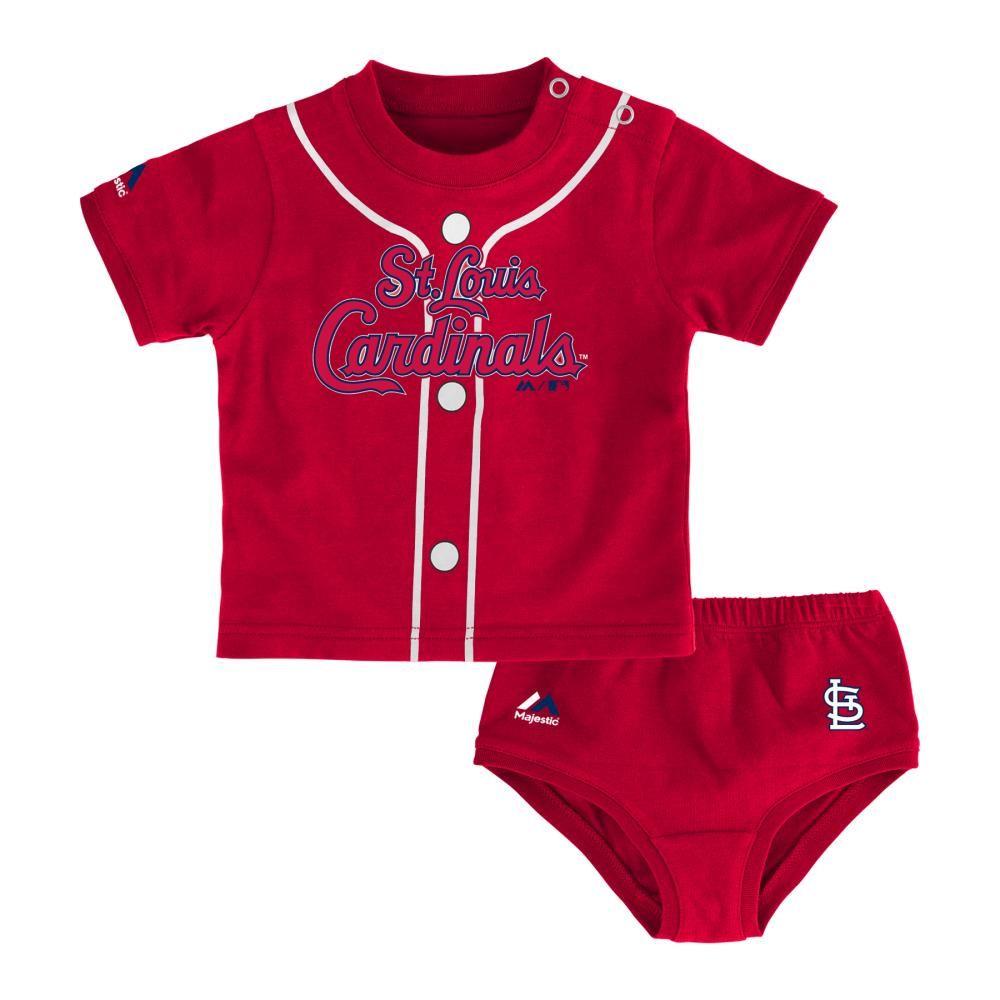 Majestic Cincinnati Reds Baby//Infant Three Strikes 3 Piece Creeper Set