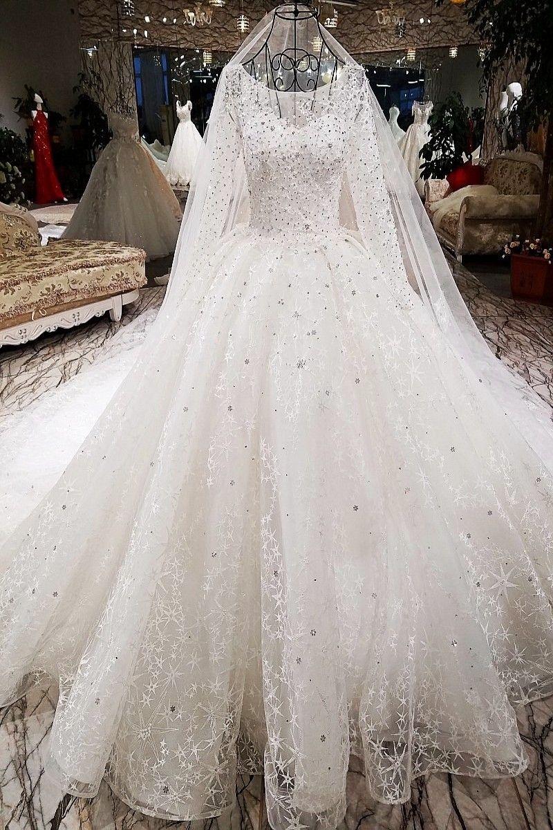 Wedding Dresses 2018 The High End Luxury Full Sleeve O Neck Bling Bling Stars Sweep Train Princess Wi Wedding Dresses Wedding Dresses 2018 Bling Wedding Dress [ 1200 x 800 Pixel ]