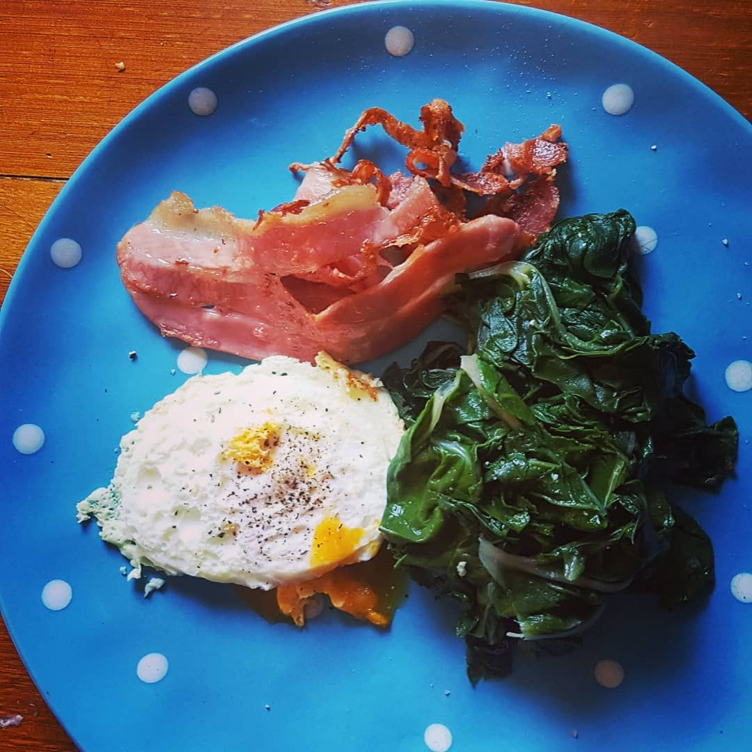 Fresh Silverbeet from the garden, an egg and some bacon. Perfect breakfast.  #keto #ketodiet #ketoea...