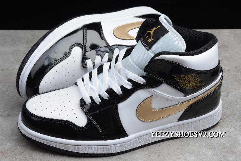 """2020 的 Outlet Air Jordan 1 Mid Patent """"Black Gold"""" 852542"""