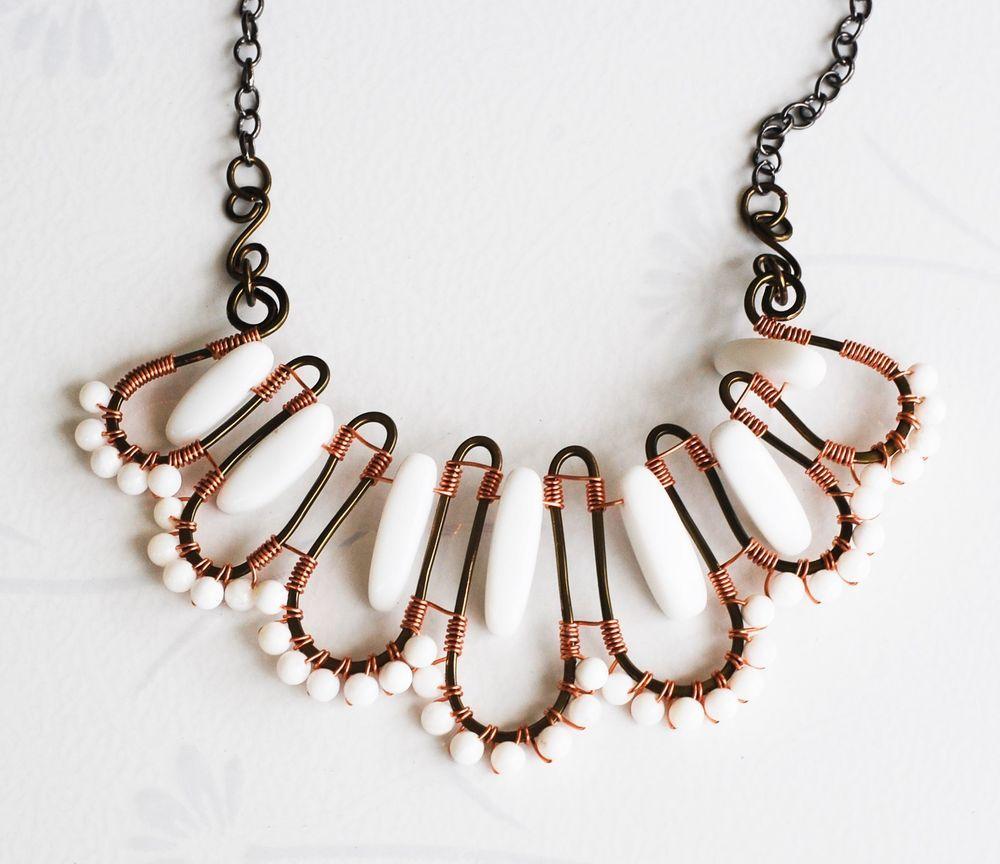 White Stone Bar White Shell Unique Wire Wrap Flower Design Necklace ...