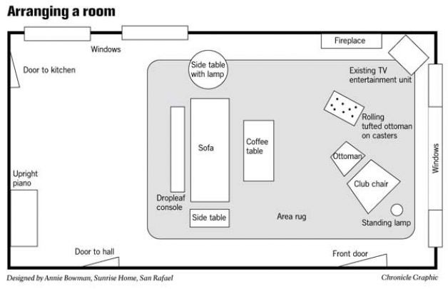 Room 39 s many windows and doors make it hard to arrange - Narrow living room furniture layout ...