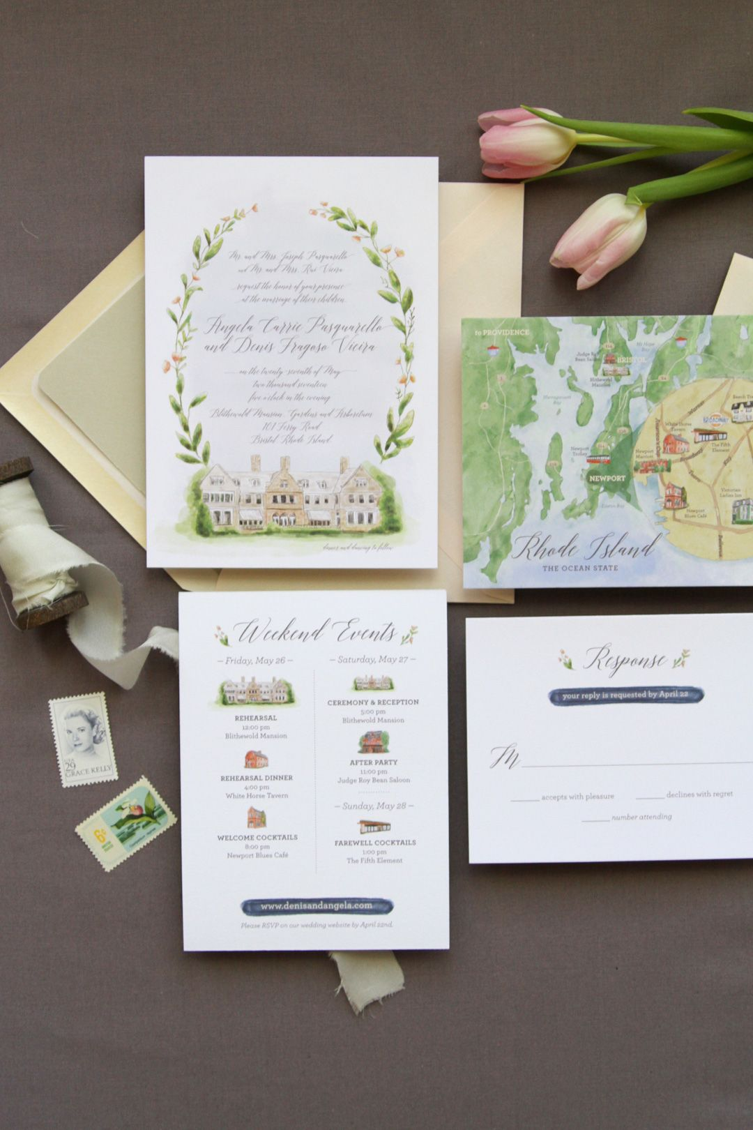 Hand Painted Watercolor Wedding Invitation Suite Featuring Blithe