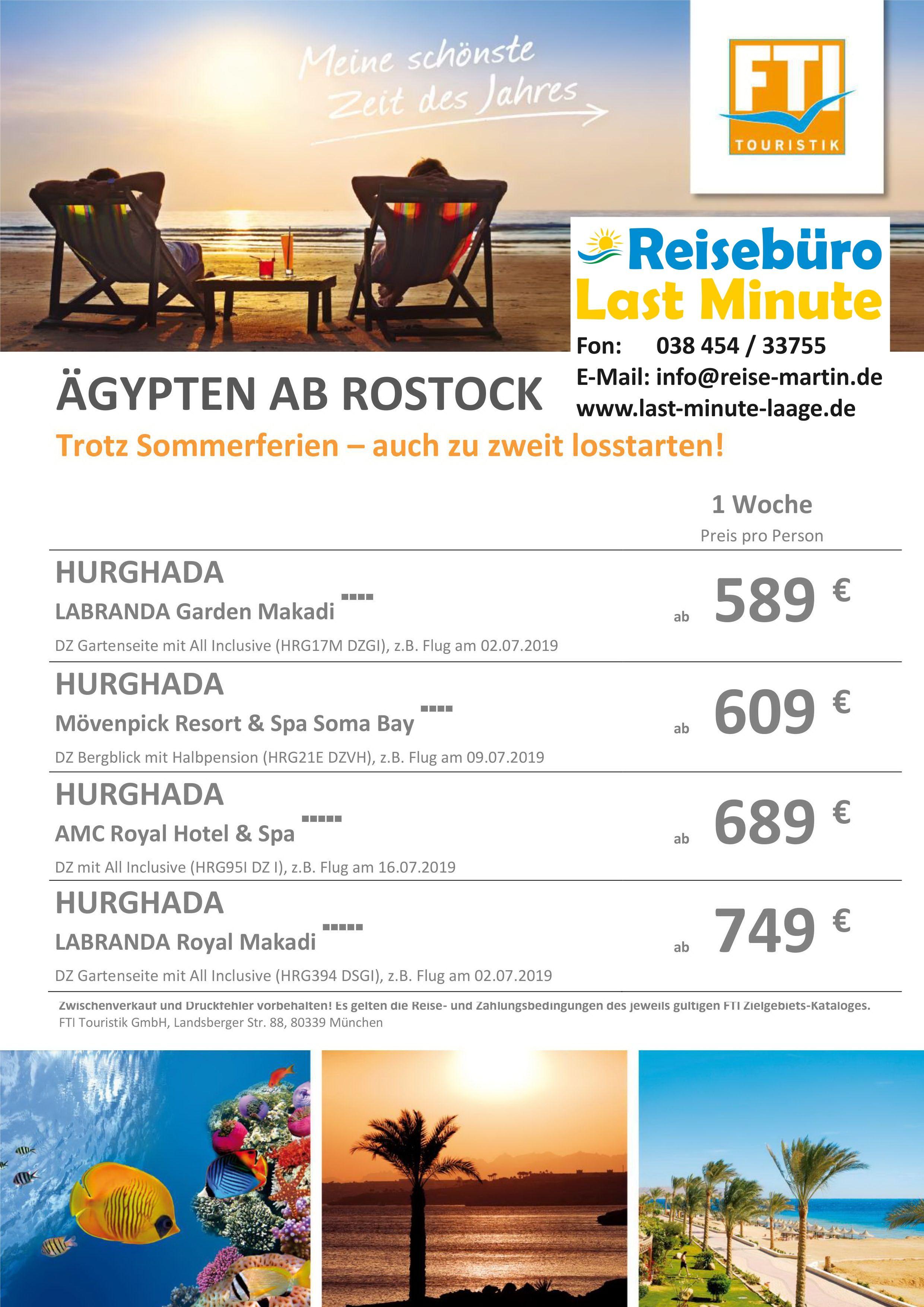 Mit FTI Touristik nach Hurghada ab Rostock Airport