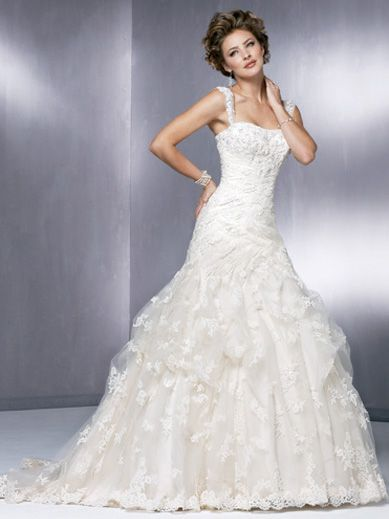 Ball Gown Spaghetti Straps Satin  Lace Aplique  Wedding Dress Style Poppy MWG00727