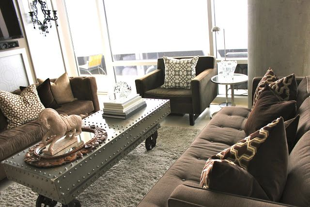 Neutral Living Room With Brown Couches Home Ideas