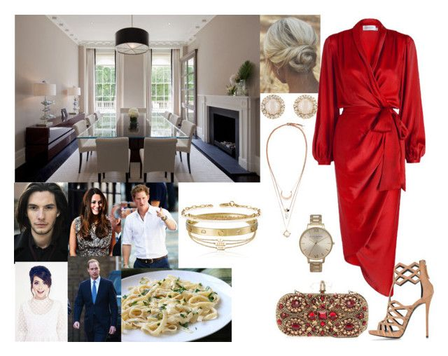 """""""Having a farewell Dinner with Will, Kate, Tessa, Piedro and Harry"""" by annaschoko007 ❤ liked on Polyvore featuring Identity, Zimmermann, Giuseppe Zanotti, Marchesa, Kate Spade, H&M, Topshop, Cartier and Sydney Evan"""