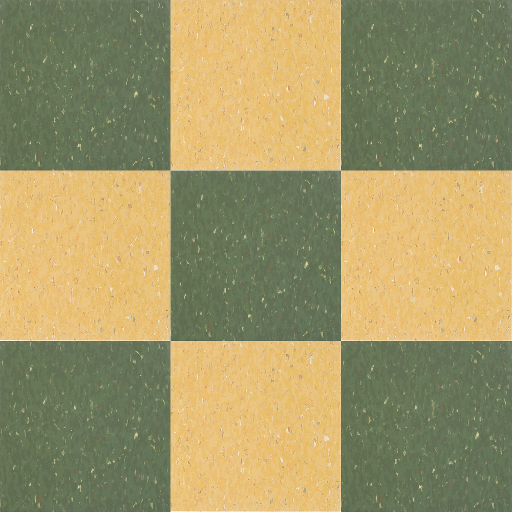 1946 yellow and grey tile bathroom - Close Up Of Armstrong Excelon Multi Color Vct In Green And Yellow Checkerboard