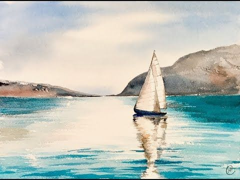 Easy Watercolor Sailboat Painting Tutorial Youtube Sailboat