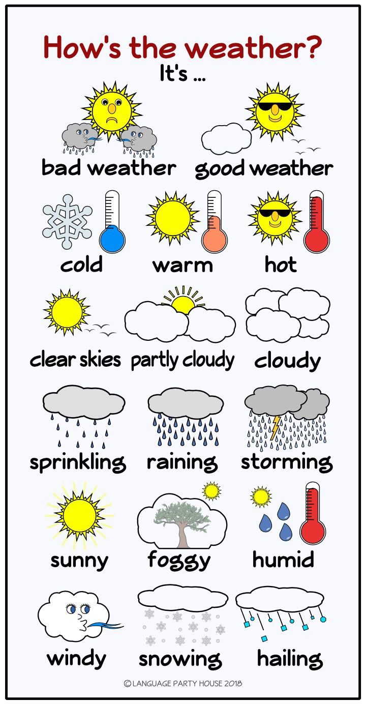 Free Spanish Weather Poster or Handout | Weather in english, English posters, English language learning