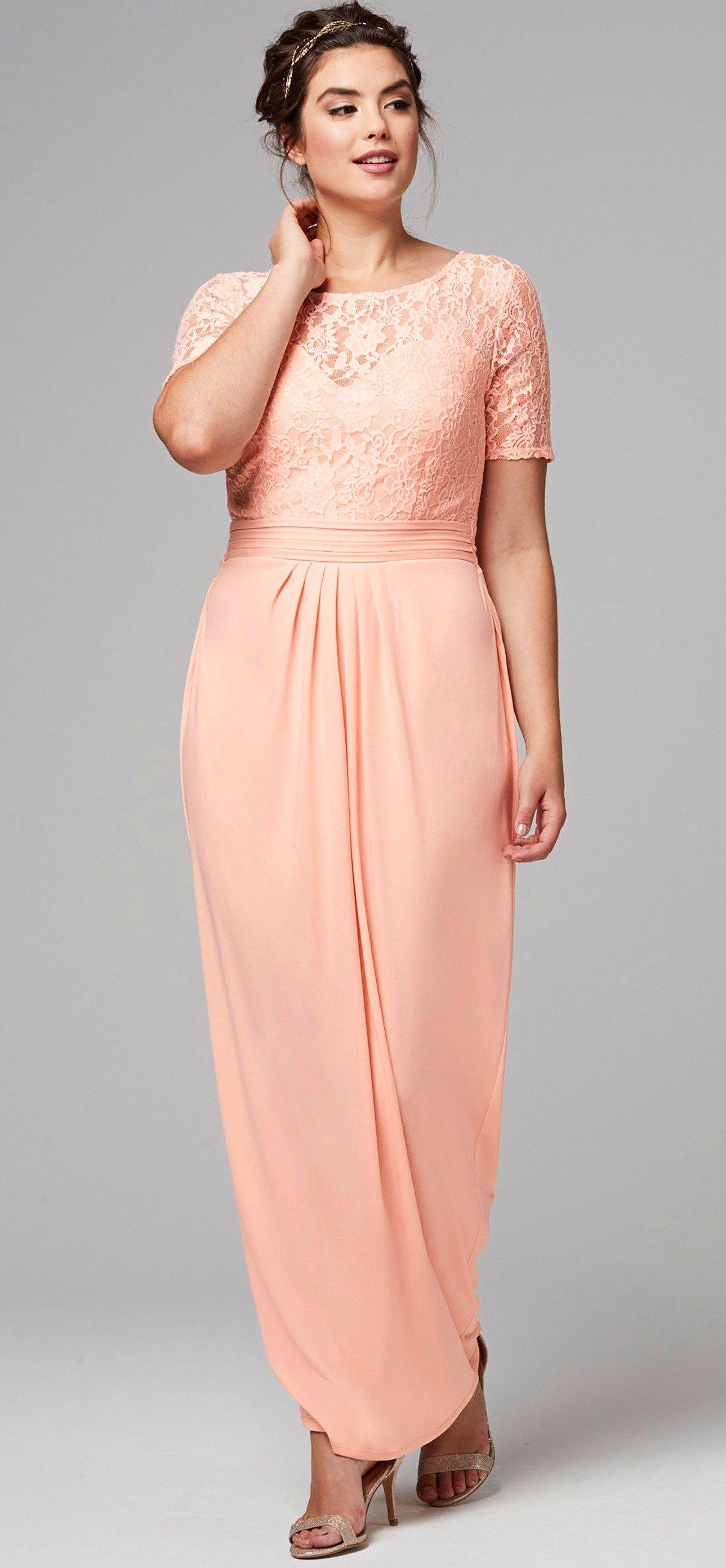 Peach dress for wedding guest  Plus Size Lace Off Shoulder Flare Dress  Dramatic off shoulder