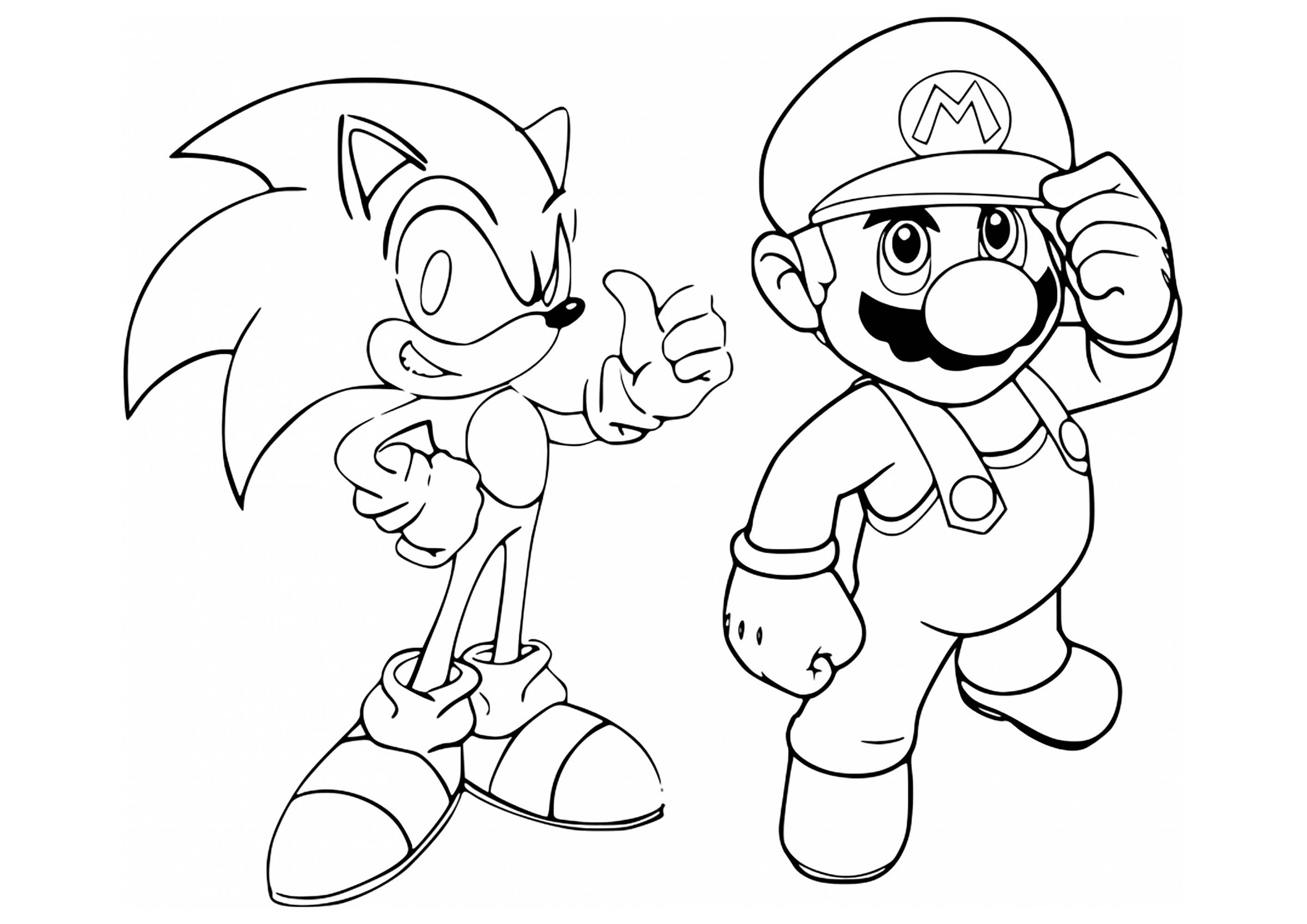free printable mario and sonic coloring pages